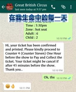通过 whatsapp 订票